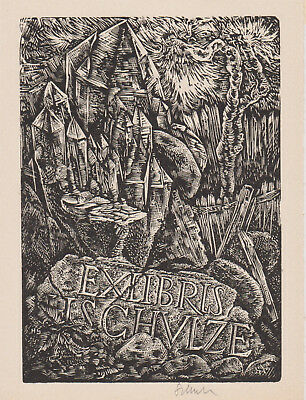 2 exlibris Hans SCHULZE (DDR) Kristall Holzstich Crystal Wood Engraving c1960's