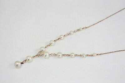 Vintage Art Deco Glass Pearl Y Shaped Necklace 1920s 1930s