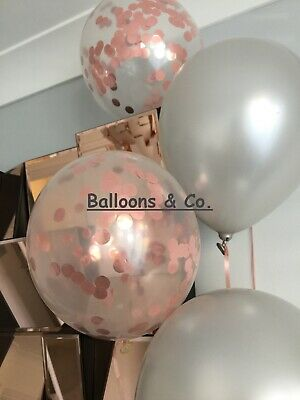 10 Rose Gold Confetti PARTY BALLOONS, Wedding, Birthday, Baby Shower