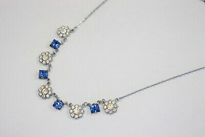 Vintage Art Deco 1930s Clear Crystal Flower and Square Blue Paste Necklace