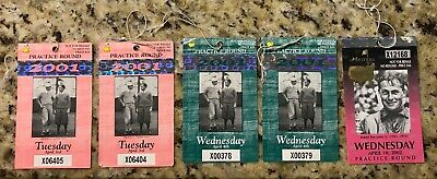 Lot of 5 MASTERS AUGUSTA NATIONAL GOLF CLUB BADGE TICKETS TIGER WOODS 2001 2002