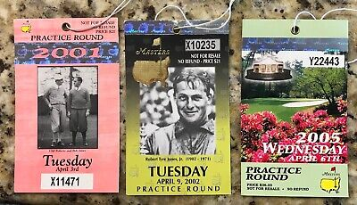Lot of 3 MASTERS AUGUSTA NATIONAL GOLF BADGE TICKETS TIGER WOODS 2001 2002 2005