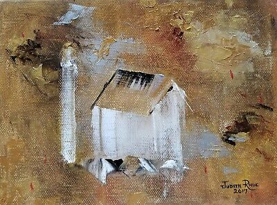oil painting landscape abstract farm barn silo country gold silver original art