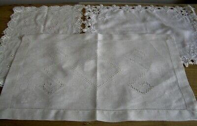 3 various vintage hand made tray/trolley/tea table cloths cotton & damask