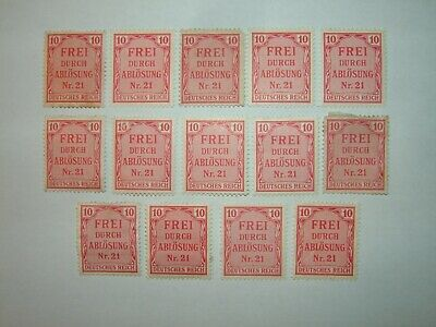 1903 GERMANY 10pf RED OFFICIAL STAMPS x 14 MINT HINGED/MINT NO GUM (sgO85)