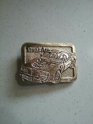 VINTAGE 1970's PONTIAC TRANS AM SOLID BRASS BELT BUCKLE MARKED 123 WELL MADE