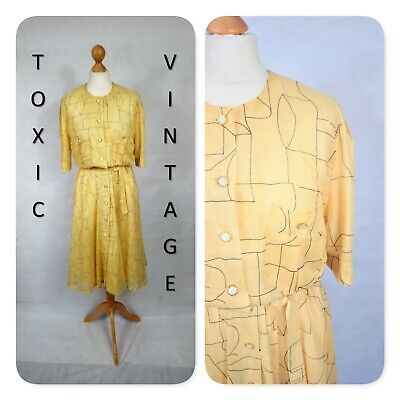 VINTAGE 80s YELLOW ABSTRACT GEOMETRIC TEA DRESS 14 RETRO PREPPY KITSCH BOHO CHIC