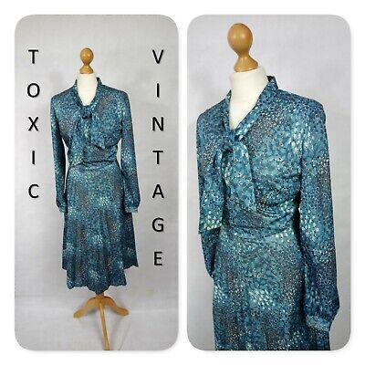 VINTAGE 60s 70s TEAL ABSTRACT PUSSY BOW TEA DRESS 12. RETRO CHIC KITSCH PREPPY