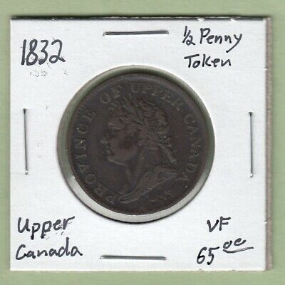1832 Province of Upper Canada 1/2 Penny Token - VF