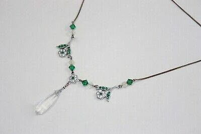 Vintage 1930s Clear and Emerald Green Floral Crystal Drop Necklace Art Deco