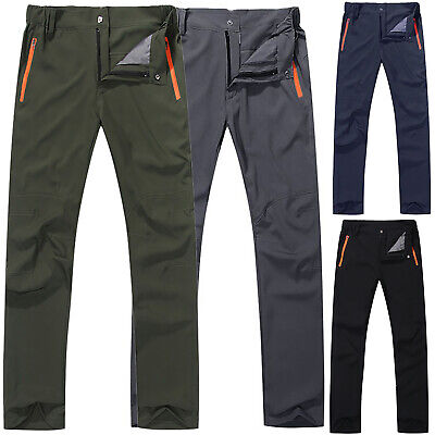 Men SOFT Shell Outdoor Trousers Straight Leg Long Hiking Spots Waterproof Pants