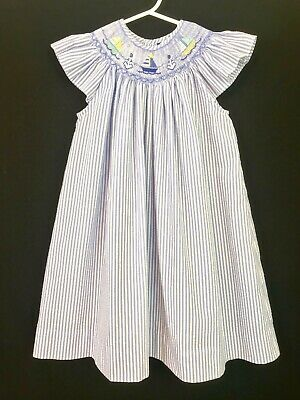 661d5b449107 Carriage Boutiques Smocked Dress Sailboats Anchor Seersucker Blue White - 4T