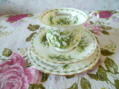 Royal Albert China Trio Tea Cup Saucer Plate January Flower of Month Snowdrop