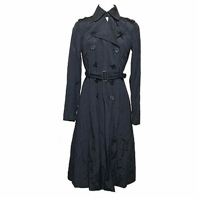 59a18ecb26 Womens Theory For Coop Barneys NY Black Belted Crepe Slit Trench Coat Size  Small