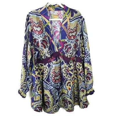 519d1edfd2c Johnny Was 100% Silk Tunic Blouse Top Plus Size 2X 3X Art Jewel Boho Chic