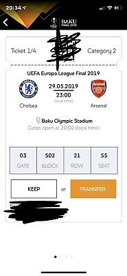 UEFA Europa League Final 2019 Baku Category 2 Ticket (4 Available All Seating )