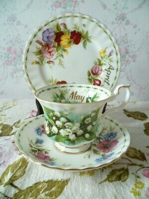 Mix & Match Royal Albert China Trio Flower of the Month Tea Cup Saucer Plate