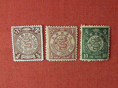 CHINA COILING DRAGONS ( Inc IMPERIAL) 1/2 & 10 CENTS MH/MNG 3 STAMPS SEE PHOTOS