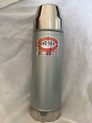 Vintage Uno Vac Stainless Steelvacuum Hot & Cold Thermos Unbreakable Liner