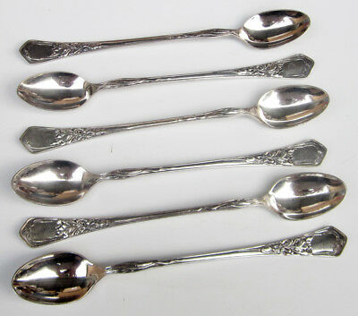 Vintage PESA Mexican Alpaca Silver Plate LEAVES Floral Lot of 6 ICED TEA SPOONS