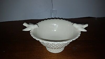 Paris Royal~Porcelain White Footed Bowl Lattice with Bird~Lovely