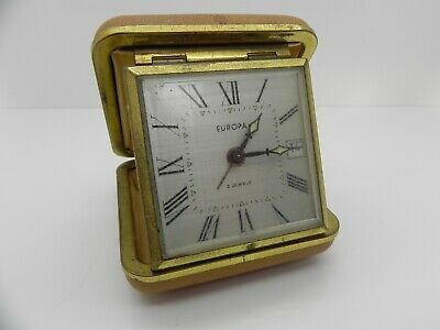 Vintage Europa 2 Jewels Wind Up Portable Travel Alarm Clock Cream Case