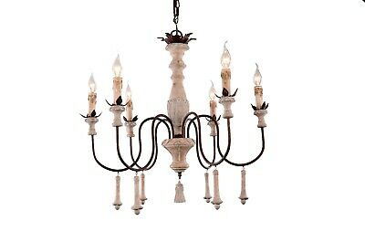 6-light french country vintage traditional wood chandelier withdroplets tassels