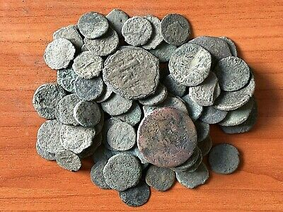 Lot of 80 Ancient Imperial Roman and Byzantine Bronze Uncleaned Coins  ( 6 )