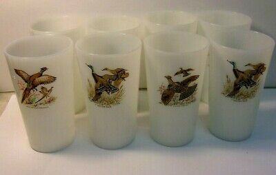 """Vintage 1960'S FIRE KING Game Bird Tumblers 5"""" tall -  lot of 8 pieces"""