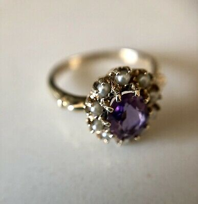 Ladies Antique Victorian 10k Gold Amethyst Seed Pearl Cocktail Ring