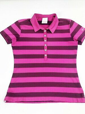 7b43a0f9 NIKE WOMENS SIZE Small 4/6 Pink Gray White Striped Polo Short Sleeve ...