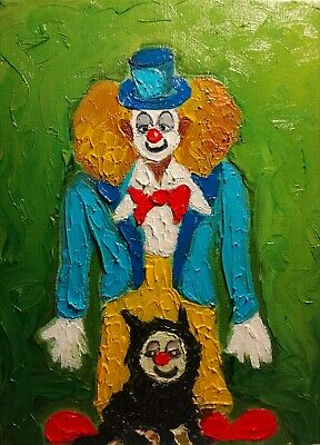 """Original oil painting  Clown and dog in mask  9x7"""" (24x18 cm)  finger painting"""