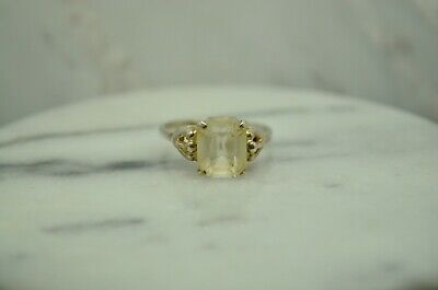 925 Sterling Silver Big Square Cubic Zirconia Adjustable Ring Size 6.5  #24282