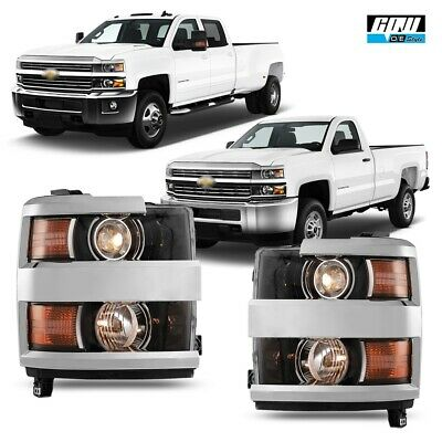 15-18 For Chevy Silverado HD Clear Lens Aftermarket Replacement Headlight Chrome