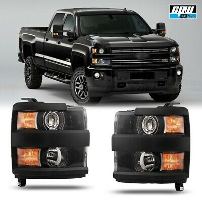 15-18 For Chevy Silverado HD Clear Lens Aftermarket Replacement Headlights Black