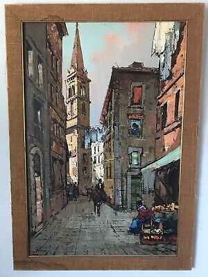 VINTAGE CITYSCAPE OIL PAINTING BY ROMANO - ABSTRACT MODERNISM MODERN 1960s