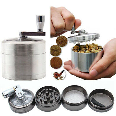 4-Piece Herb Grinder Spice Tobacco Smoke Zinc Alloy Crusher Leaf Design
