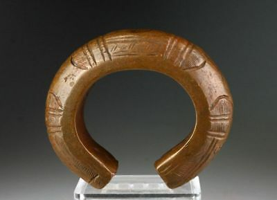 *Sc*Superb Heavy Choice West African Bronze Decorated Currency Bracelet!