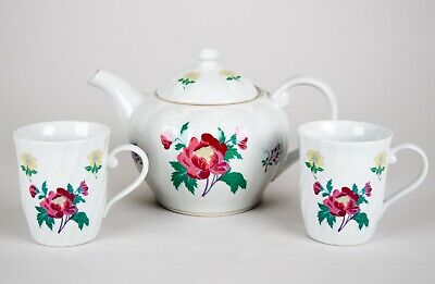 Laura Ashley Parfums Tea Pot & Mug Set Vintage Floral China