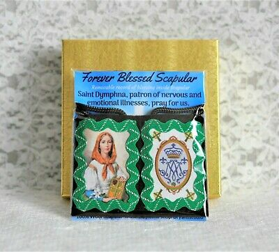 St. Dymphna Our Lady of Knock Brown Scapular with Record of Blessing & Medal