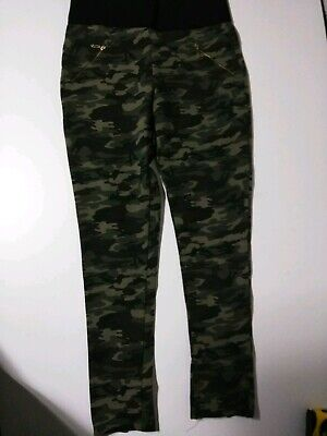 SHINESTAR Camo Pants zip cuffs Elastic Waist   leggings stretch pant L @9