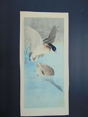 Vintage Japanese Woodblock Duck Print