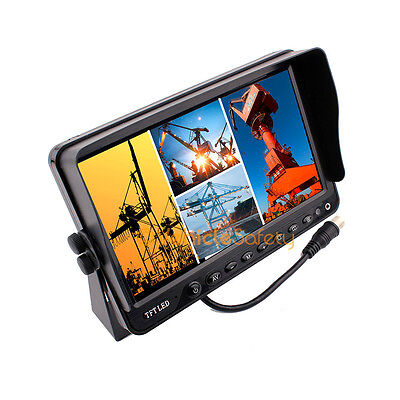 "7"" TFT LCD Digital Quad Split Screen Monitor For Rear View Backup Camera System"