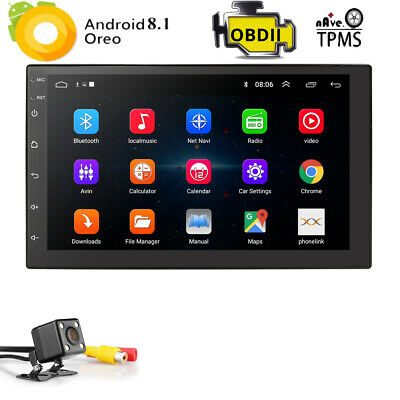 "7"" 2Din Quad Core Android 8.1 Car Stereo MP5 Player GPS Navi Radio WiFi BT+CAM D"