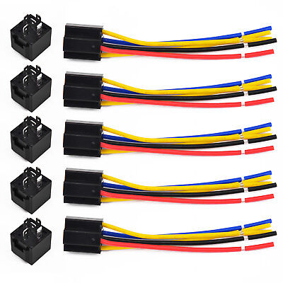 5X 12V 12 Volt DC 40A AMP Relay & Socket SPDT 5Pin 5 Wire Fit Car Auto Truck