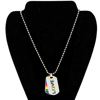 New Rainbow Personality Necklace Stainless Steel Jewelry PRIDE LOVE Double Layer