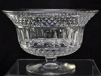 Large Antique Blown & Cut Flared Flint Glass Footed 10 Inch Bowl 1840