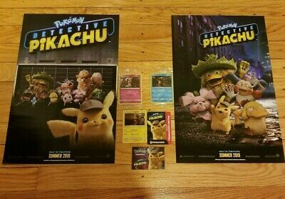 Pokemon Detective Pikachu MOVIE PROMO CARDs & Posters TARGET GAMESTOP AMC SET