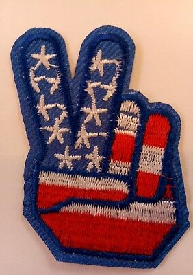 """1960'S Style PEACE SIGN  Iron on Patch 2"""" x 1.5"""""""