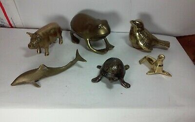 Lot of mostly vintage brass,bronze animal figurines,sculptures,frog,pig shark
